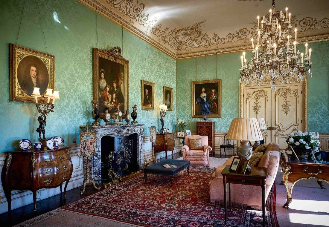 green silk papers the wall in the Drawing Room at Downton Abbey HIghclere Castle