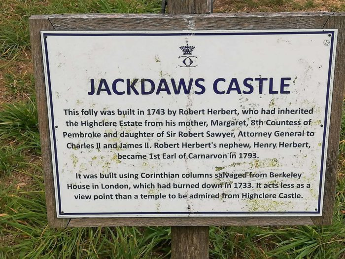 sign pointing to the folly at Highclere Castle Jackdaws Castle
