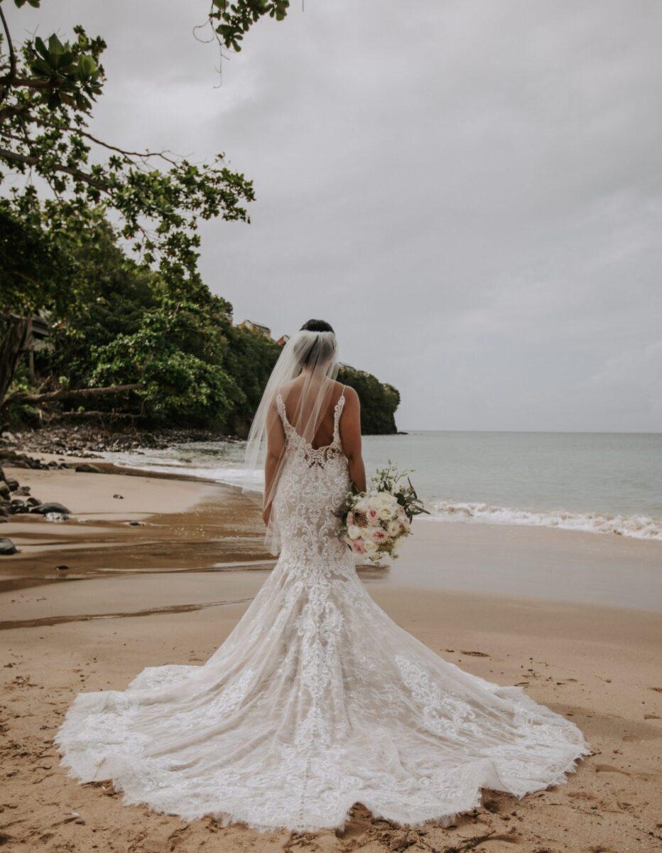 bride on the shore of an Irish lake