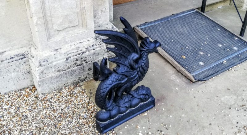 dragon boot cleaners outside the main door at Downton Abbey