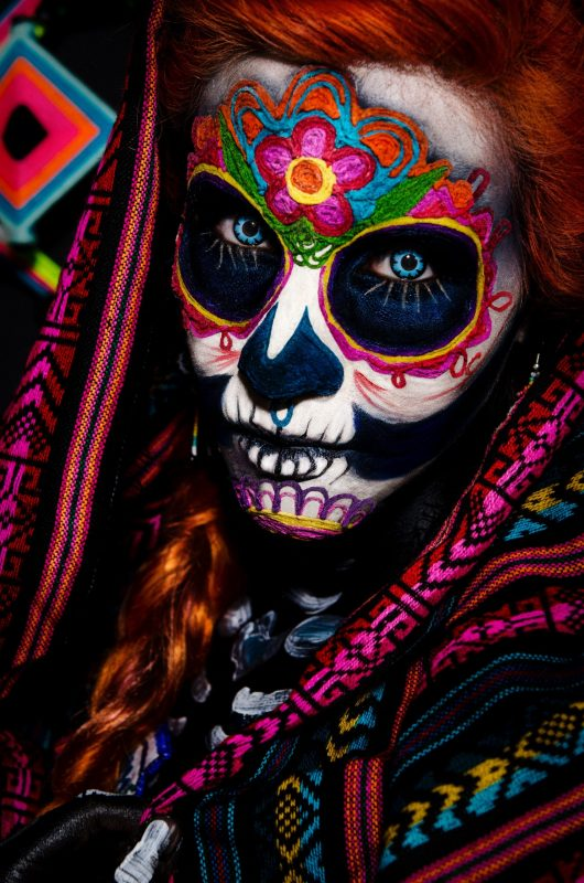 A catrina with a calavera painted face in Mexico