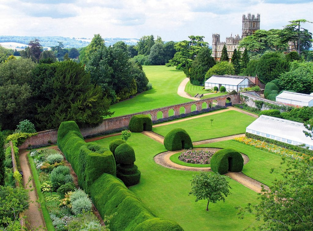 long shot of the gardens at Highclere Castle