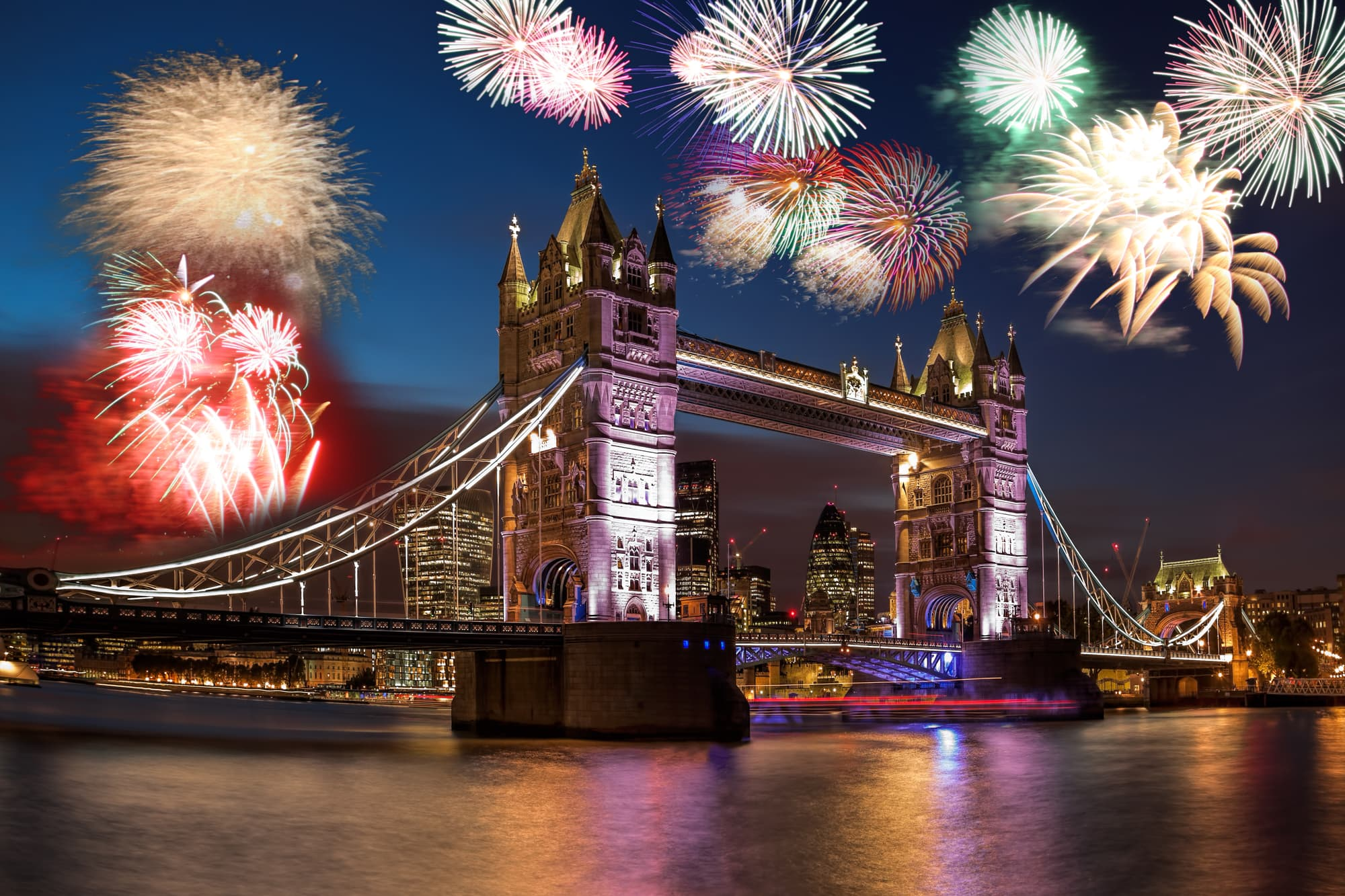Tower Bridge with firework in London, England (celebration of Bonfire Night