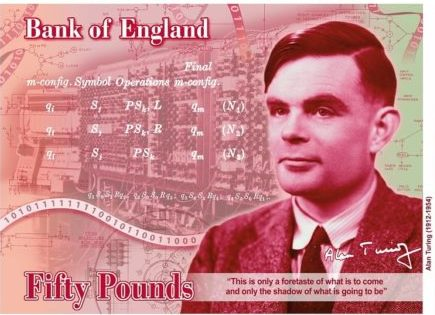 Alan Turing 50 sterling note from England