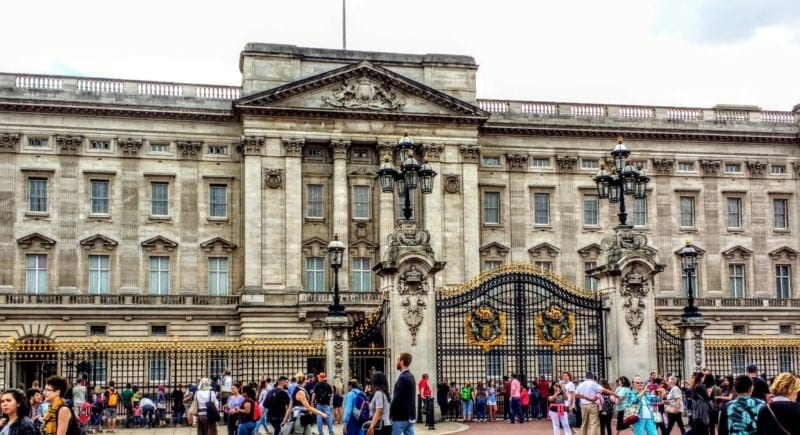 exterior of Buckingham Palace by the gates with the hordes of tourists