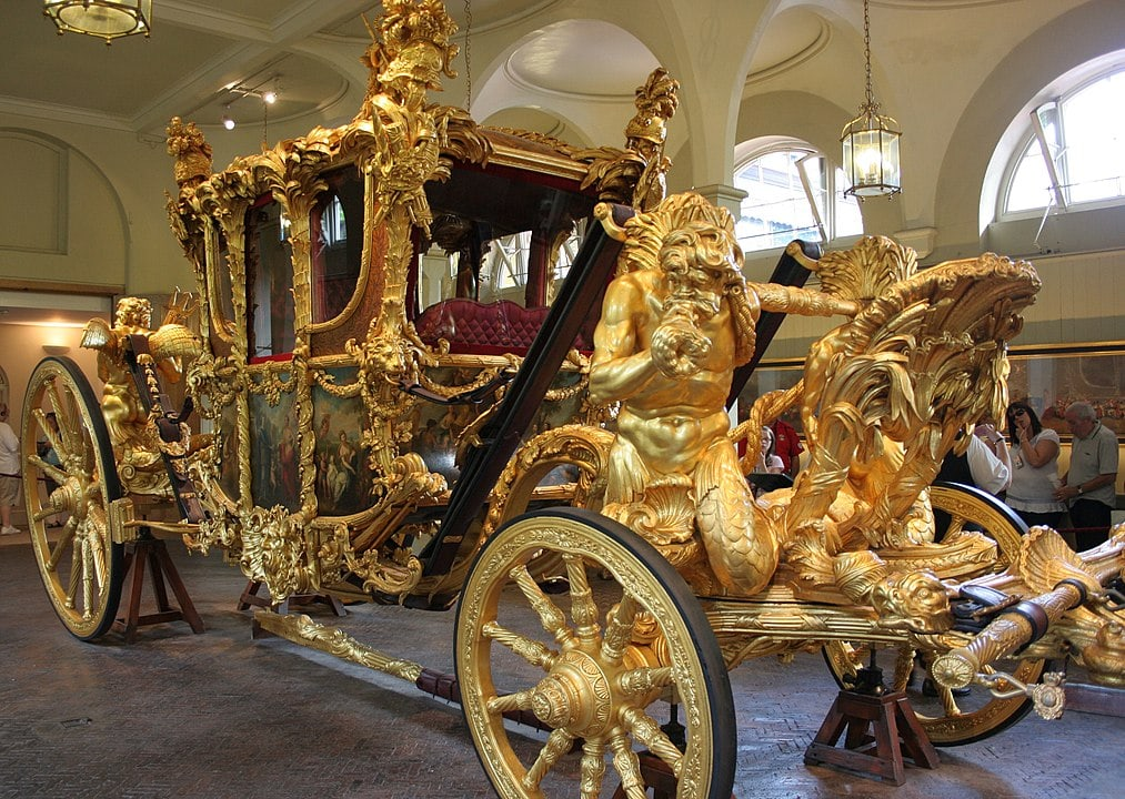 The royal Golden coach of the Queen at the Mews Buckingham Palace