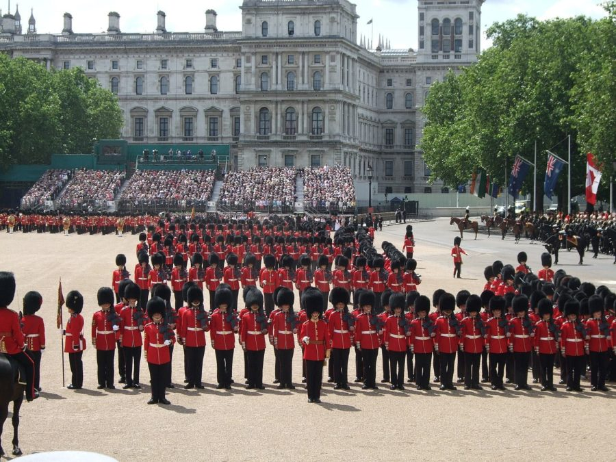 Trooping of the colour with Buckingham Palace in the background