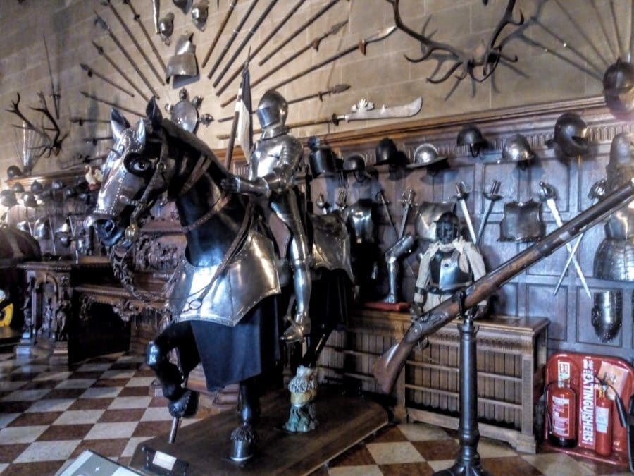 mounted display of horse and armed rider in Warwick Castles Great Hall