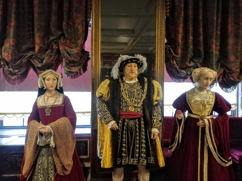 Tussauds wax dummies of Henry VIII and a couple of his wives