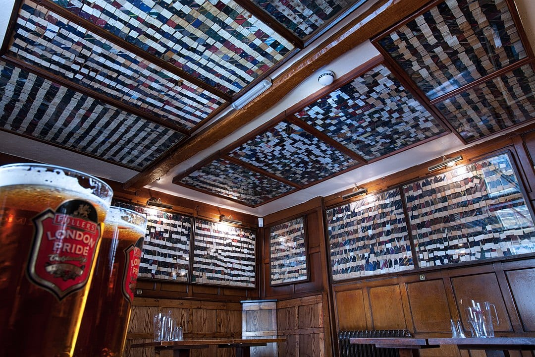 The Bear Inn in Oxford has a ceiling covered with bits of ties cut off the guests