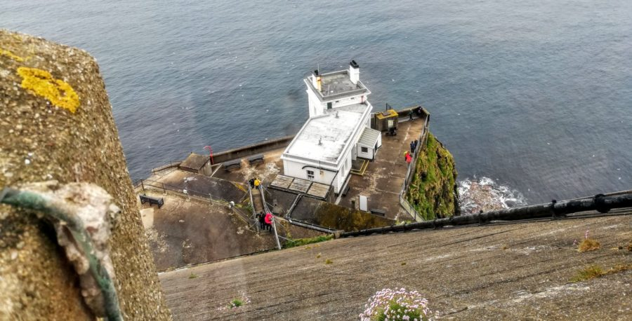 its a hell of a long way down to the upside down lighthouse on Rathlin Island to see puffins