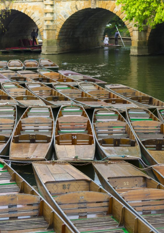 Punts on the Thames in Oxford