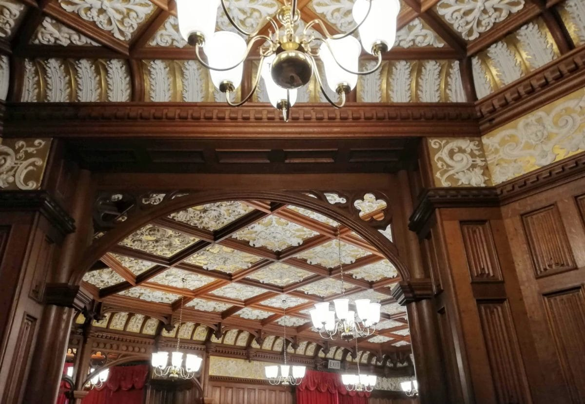 elaborate plaster ceilings in the Manor house at Bletchley park