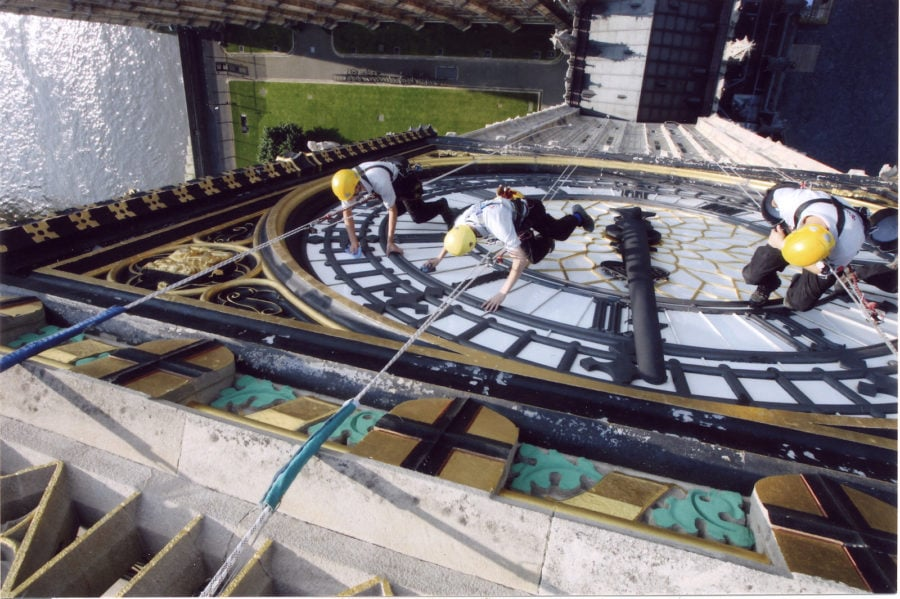 cleaning Big Ben at the Houses of Parliament