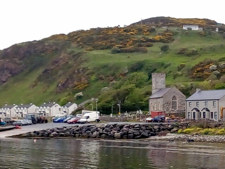 view of Church Bay Harbour on Rathlin Island from the ferry