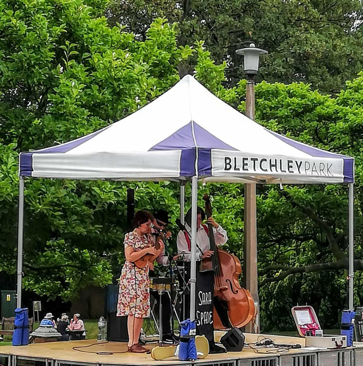 live music entertainment on the grounds of the Bletchley Park Manor house