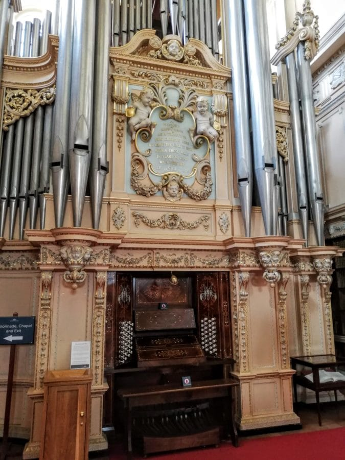 pipe organ in the Long Library at Blenheim Palace
