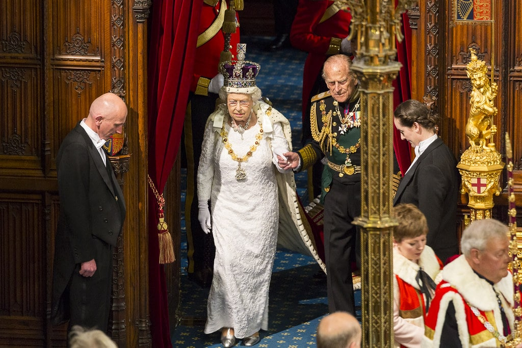 the Queen entering the Houses of Parliament