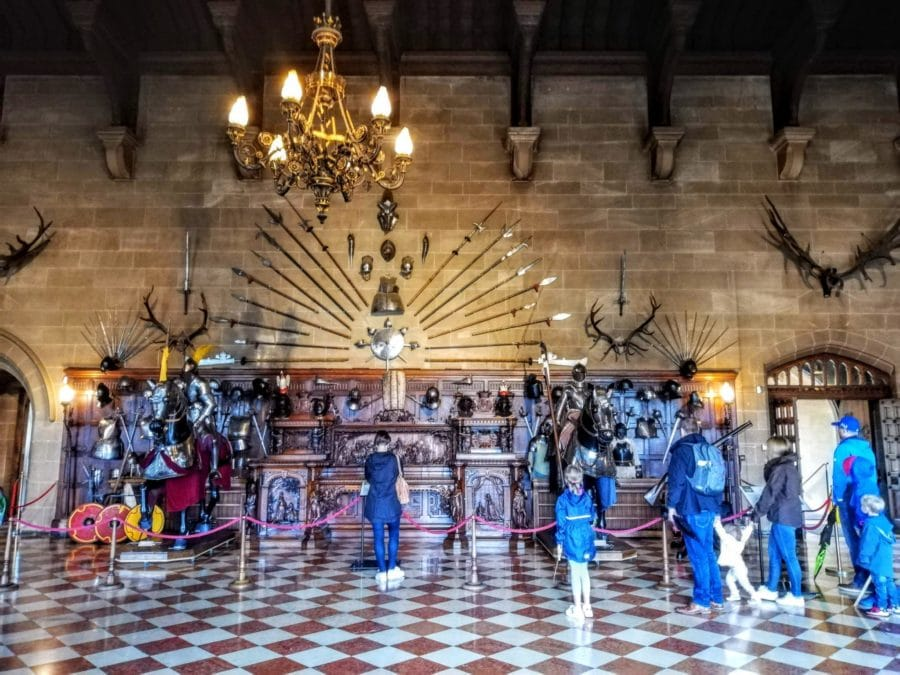 the Great Hall display of armour at Warwick Castle
