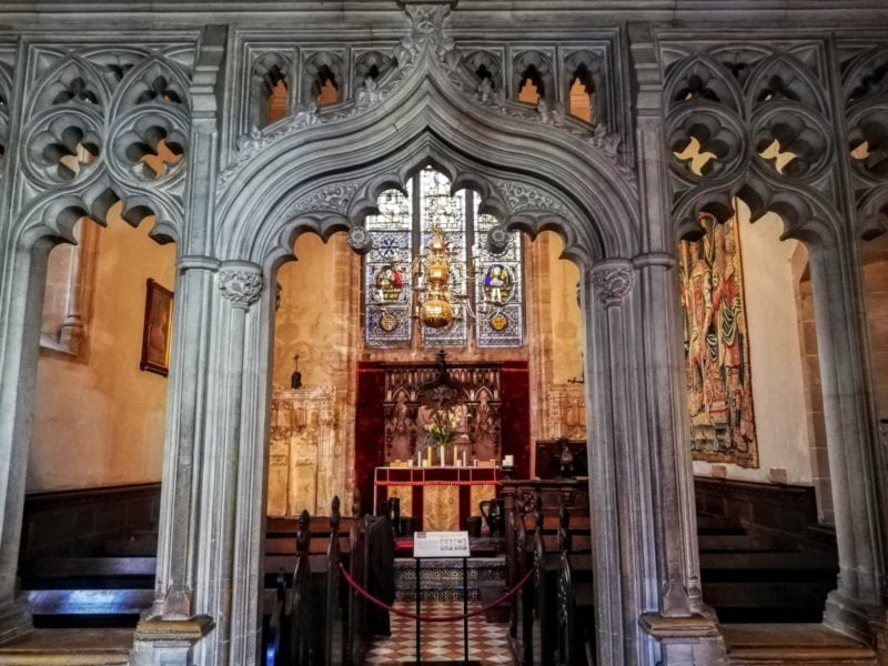 detail of entry to Chapel at Warwick Castle