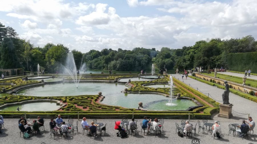 formal gardens and fountains at Blenheim