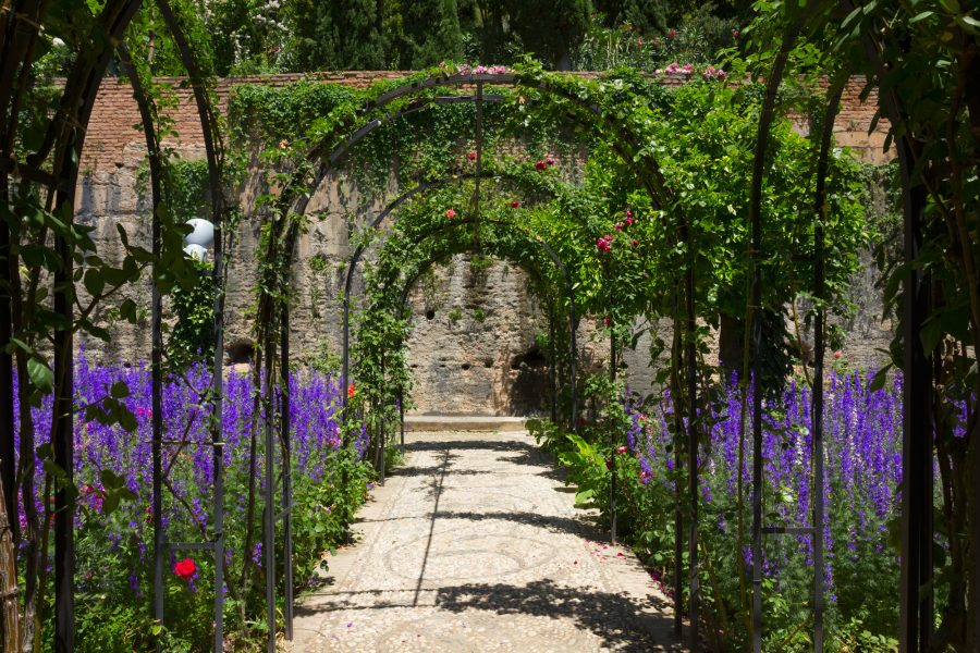 Archway in the Generalife gardens of the Alhambra palace of Granada, Spain