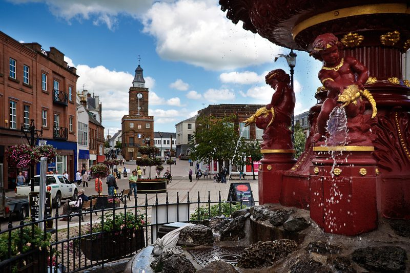 The fountain in Dumfries Town Centre