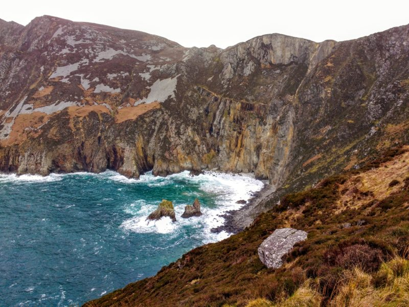 views of crashing sea from Slieve League Cliffs in Donegal