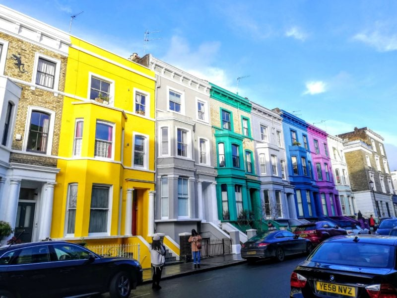 What to do in Notting Hill some of the prettiest streets in London with colourfully painted houses