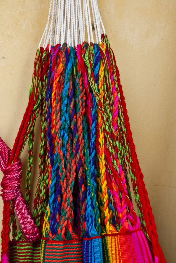 end strings of hammocks from Mexico, really bright braided strings of colour