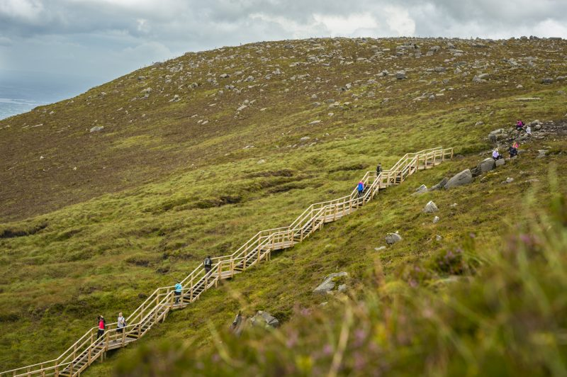 Walkers on The Stairway to Heaven at Cuilcagh mountain