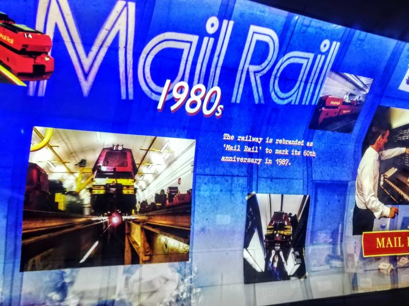 Mail Rail at the London Postal Museum a video projection onto the tunnel walls