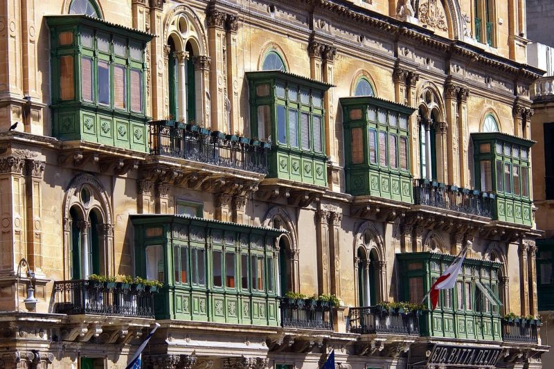 view of the balconies on houses in Malta
