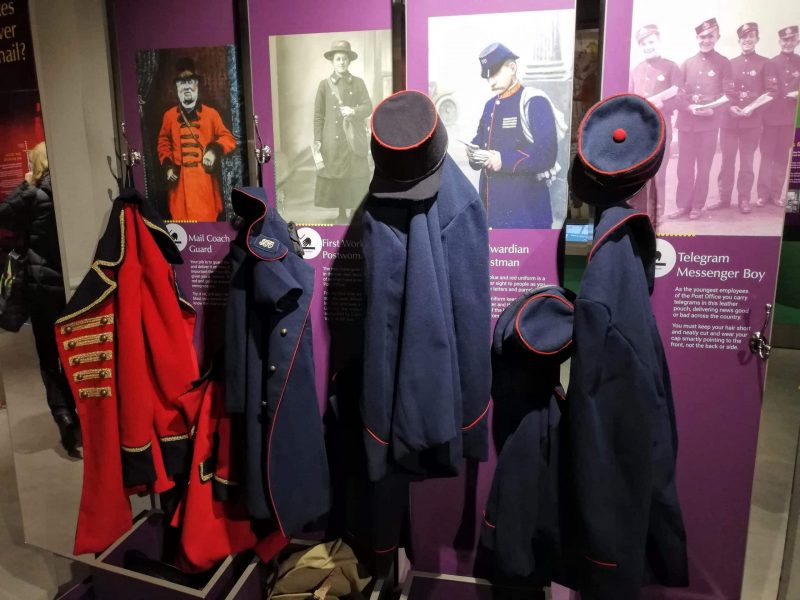 dressing up in old postal museum uniforms