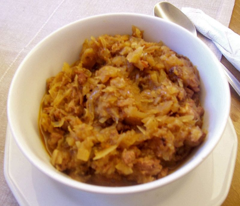 a bowl of Bigos as served in Poland