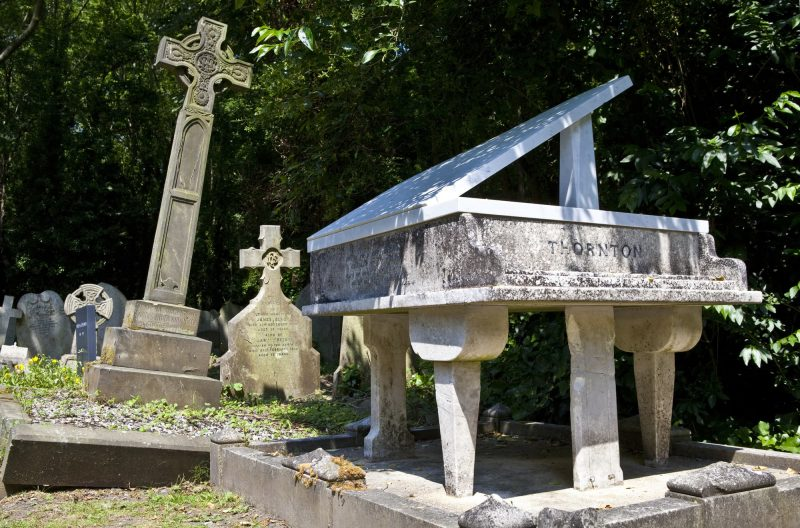 a grand piano tombstone in Highgate Cemetery Londons beautiful places