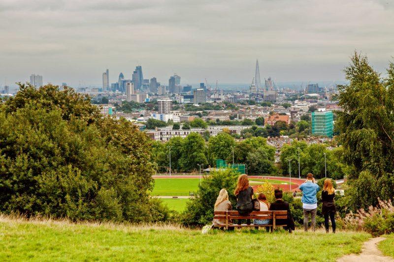 Panoramic view of London from Highgate Hampstead Park Londons beautiful places