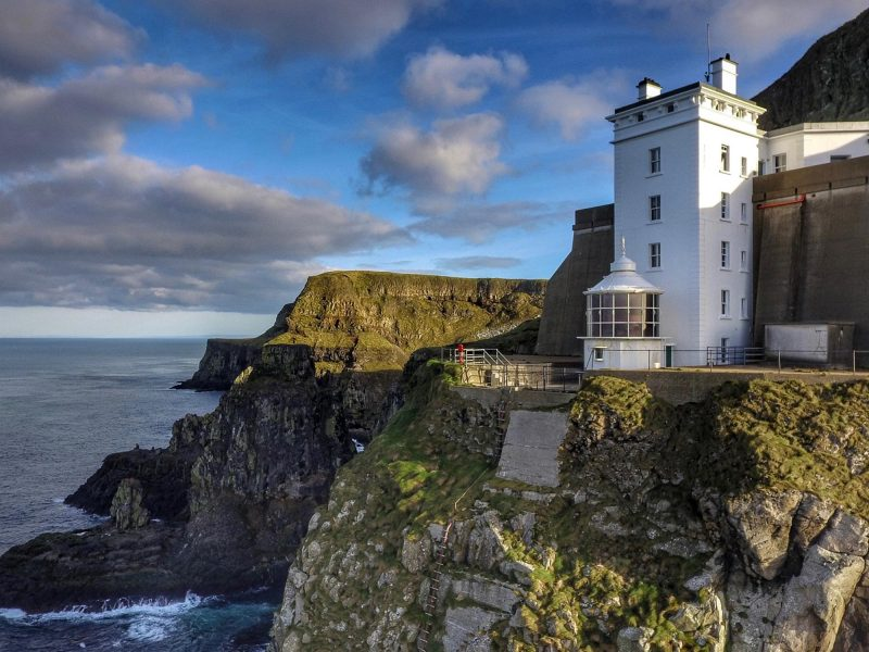 the East Lighthouse on Rathlin a stark drop down the cliffs into the Irish sea