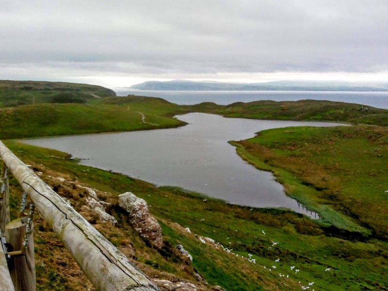 Kebble Lough a giant wetlands marsh and lake on Rathlin Island