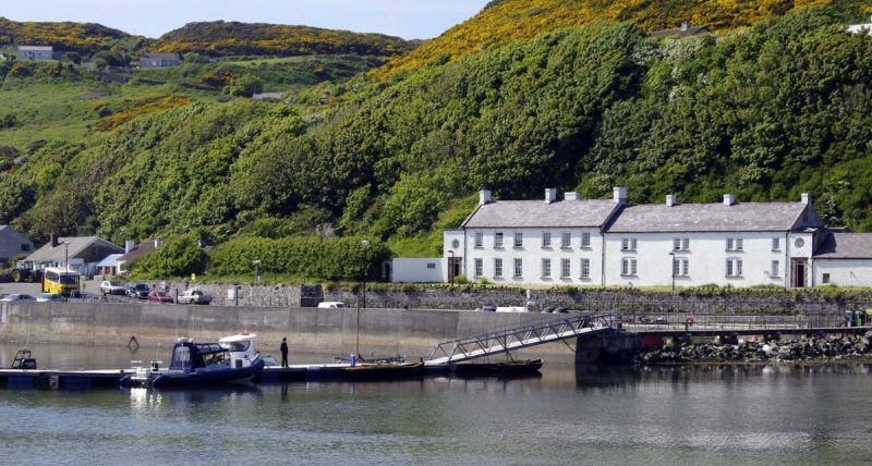 a view of the White Manor house on Rathlin Island that is the islands only hotel