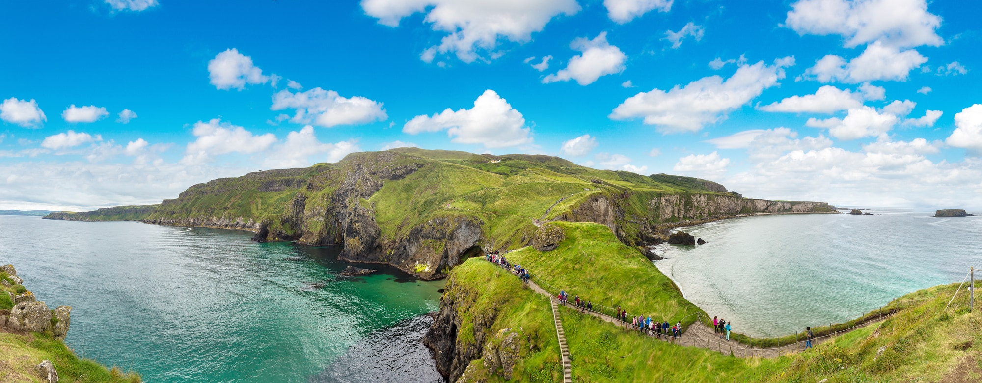 long shot of the Carrick-a-Rede rope bridge in N. Ireland