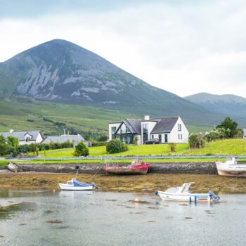 A small fishing harbour in Clew Bay, near Westport in County Mayo, Ireland