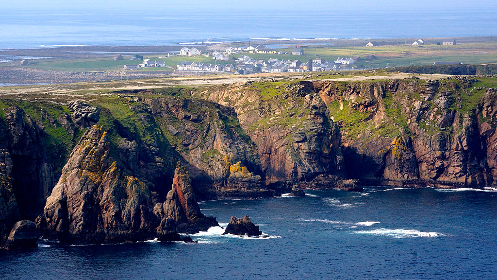 Tory Island off the coast of Donegal the cliffs and village