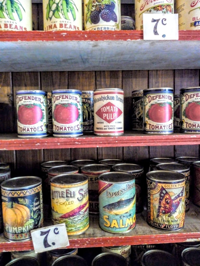 A display of tinned goods found in the New World at the Ulster American Folk Park