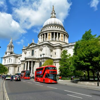LONDON, UK - MAY 12 2015:St Pauls Cathedral London England, UK.The cathedral is one of the most famous and most recognisable sights of London.St Paul's also possesses Europe largest crypt.
