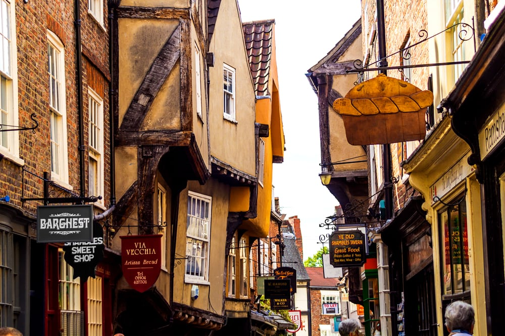 The Shambles in York, beautiful, old architecture in York, England, United Kingdom,
