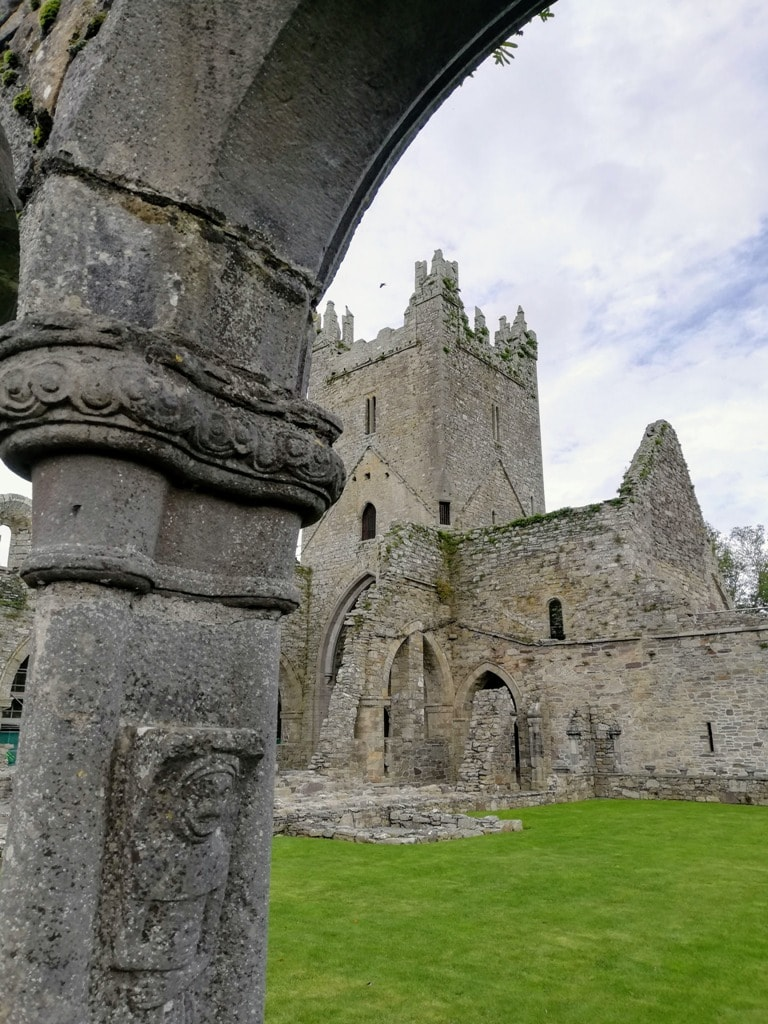 ruins of Jerpoint Abbey with carvings on the columns