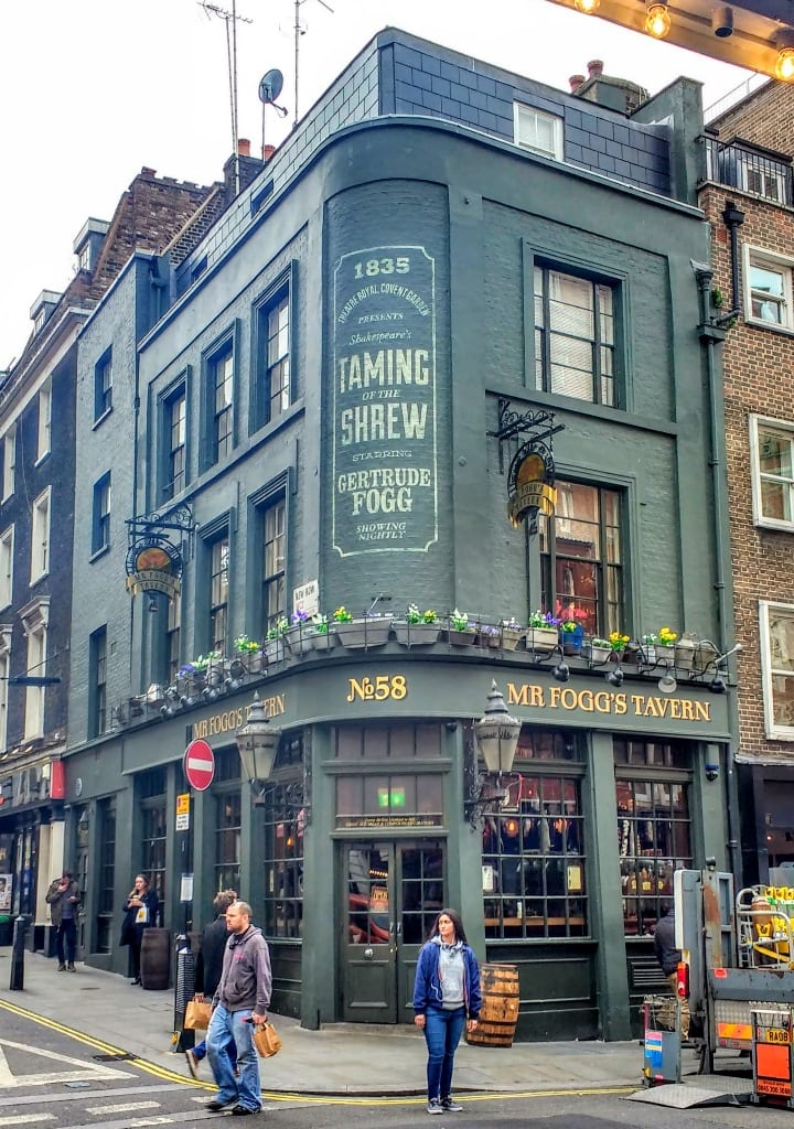 Mr Fogg's Tavern in Covent Garden Market an old Victorian pub that was frequented by the theatre crowd.