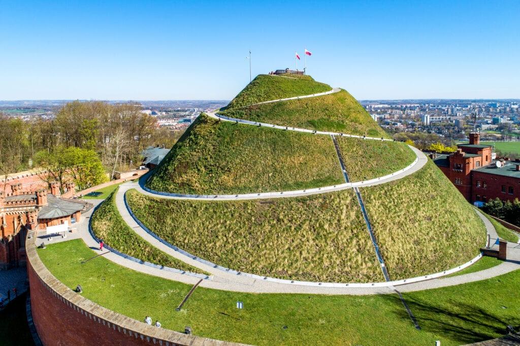 Kosciuszko Mound (Kopiec Kościuszki). Krakow landmark, Poland. Erected in 1823 to commemorate Tadedeusz Kosciuszko. Surrounded by a citadel, erected by Austrian Administration about 1850. Aerial view.
